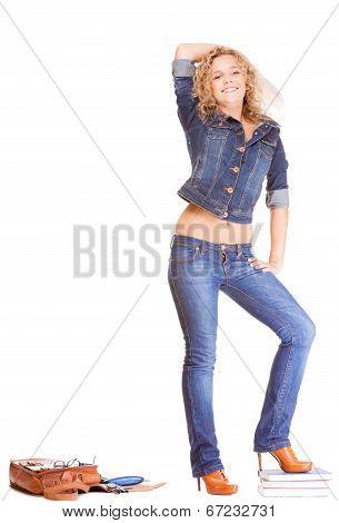 Denim Fashion. Full Length Student Girl In Blue Jeans Bag Books