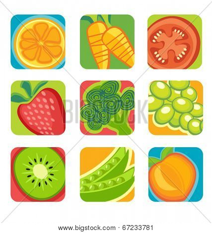 abstract fruit and vegetable icons