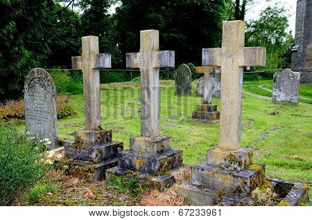 Stone crosses in churchyard, Pembridge.