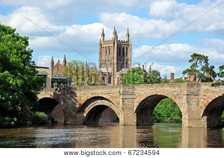 Wye Bridge and river with Cathedral to rear, Hereford.