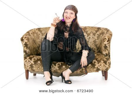 Hippie Woman Smoking