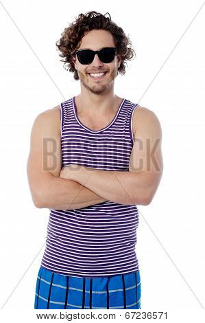 Smiling Confident Guy In Beach Wear