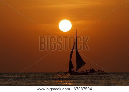 Sailing boat sea sunset
