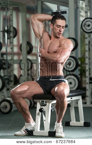Young Man Working Out Triceps