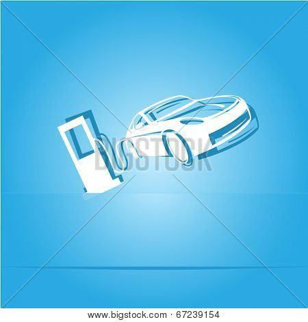 Car fueling. Paper sticker. Raster illustration.