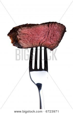 fork with steak