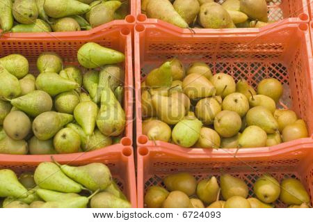 Boxes With Pears In A Supermarket