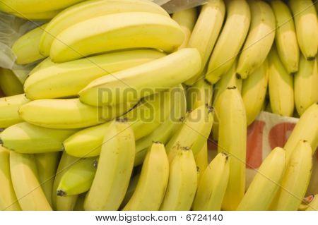 Sheaf Of Bananas In A Supermarket