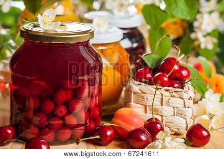 Jars of homemade fruit preserves