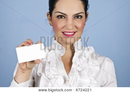 Executive Woman With Blank Card