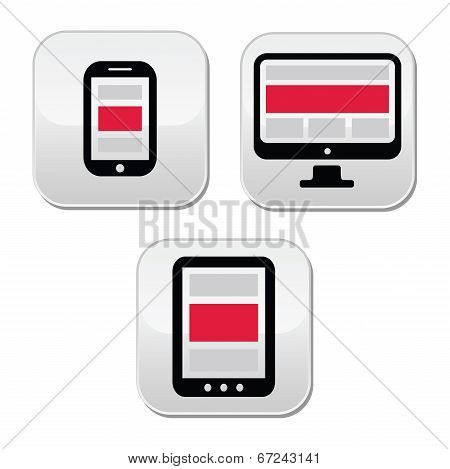 Responsive design for web - computer screen, smartphone, tablet buttons set