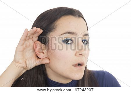 Young Woman Listening To Gossip