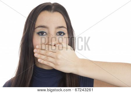 Woman Voiceless Looking At Camera