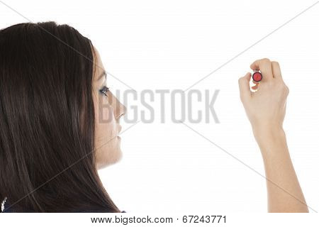 Young Woman With Pen Looking Away