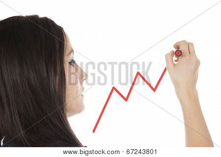 Young Businesswoman Drawing A Graph