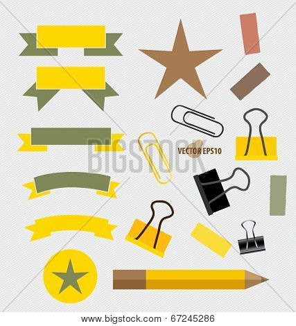 Ribbons Set, pencil, paperclip and sticker. Vector illustration.