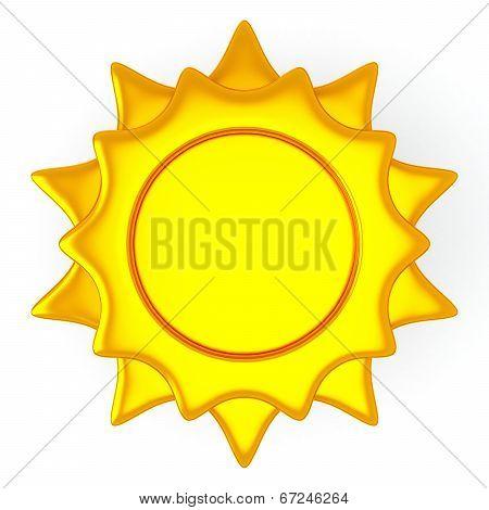Golden sun icon, 3d