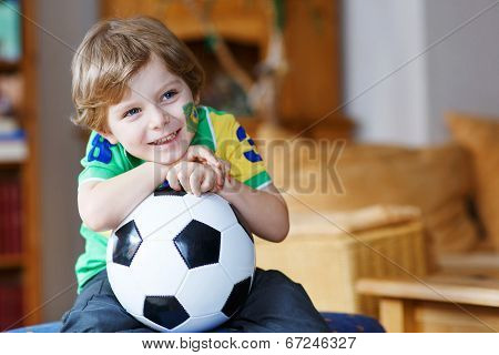 Cute Boy Fan Having Fun And Happiness For Football Game