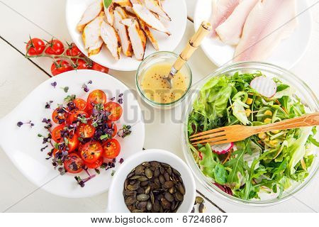 Salad With Grilled Meat, Smoked Fish And Different Vegetables.