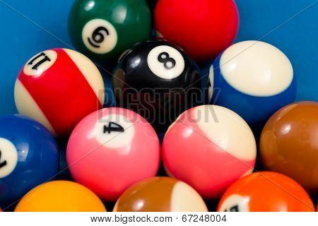 Billiard Balls On Blue Cloth