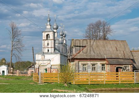 Ancient Rural Church On A Sunset.russian Countryside.