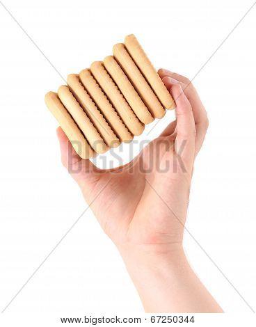 hand holds Stack saltine soda cracker