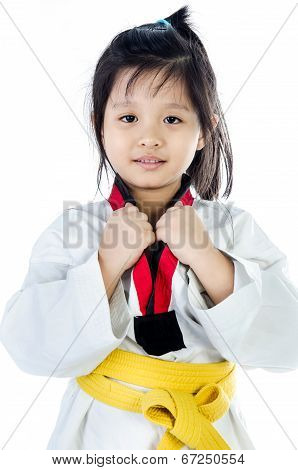 Little Asian Girl In A Kimono With A Yellow Sash