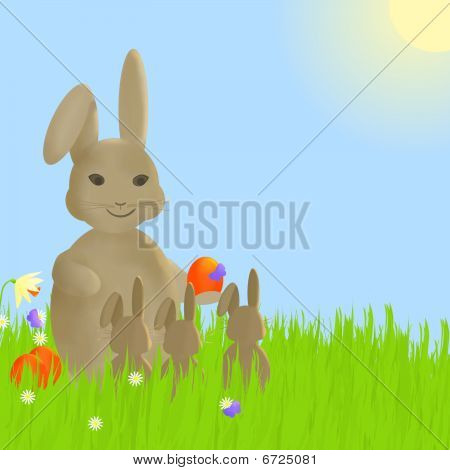 Easter Rabbit Family In Meadow