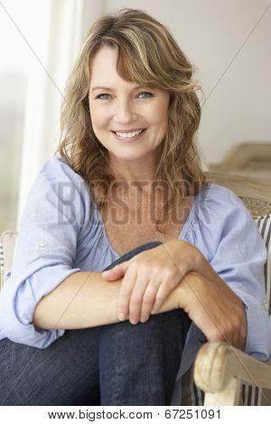 Mid age woman at home