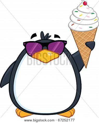Cute Penguin With Sunglasses And Ice Cream