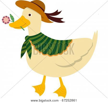 The view of duck with flower