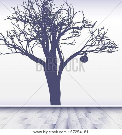 white room with image of apple tree