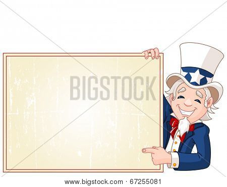 This is Great illustration of a cartoon Uncle Sam holding sign, Perfect for a Fourth of July illustration. Raster version.