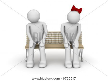Shy couple on a bench