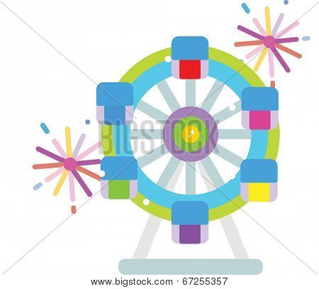 The view of Ferris wheel with firework