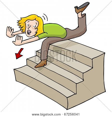 An image of a woman falling down a flight of stairs.
