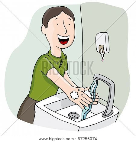 An image of a man washing his hands.