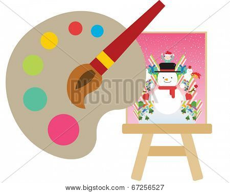 The view of easel with palette
