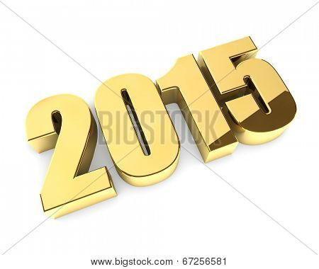 Golden 3D 2015 year figures isolated on white background.