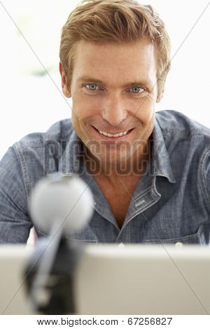 Man using skype