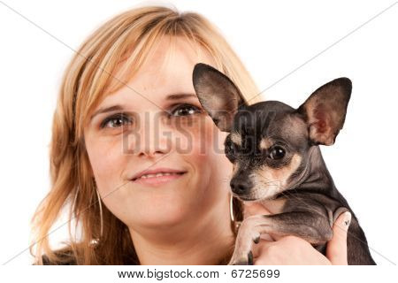 Young Woman With Her Chihuahua
