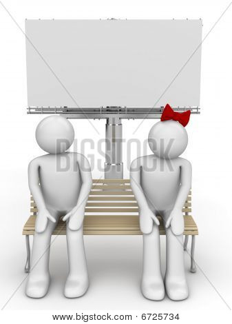 Shy man and woman on a bench with copyspace