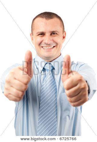 Businessman With Both Thumbs Up