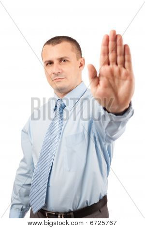 Businessman Making Stop Sign