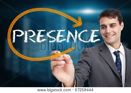 Businessman writing the word presence against shiny cityscape on black background