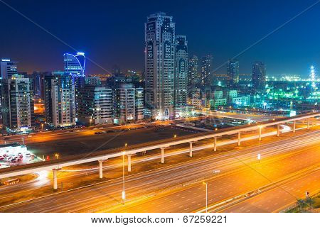 DUBAI, UAE - MARCH 30: Technology park of Dubai Internet City at night on 30 March 2014. Dubai Internet City is created by the government free economic zone for global information technology firms.