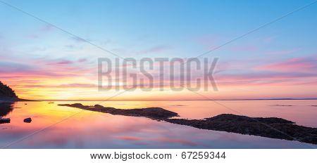 Panorama Of  Ocean Beach At The Crack Of Dawn
