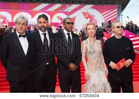 MOSCOW - JUNE, 19: Jury: G.Panfilov F.Petri,A.Sissako,L.Goguashvili,L.Danilu 36st Moscow International Film Festival. Opening Ceremony at Pushkinsky Cinema . June 19, 2014 in Moscow, Russia