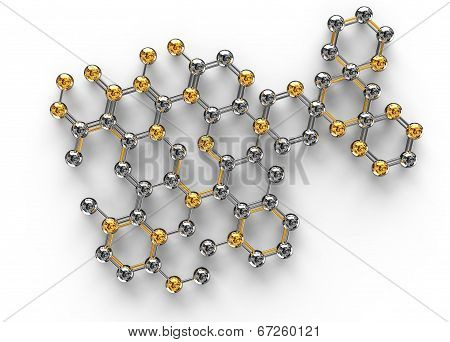 3d science illustration of abstract molecule