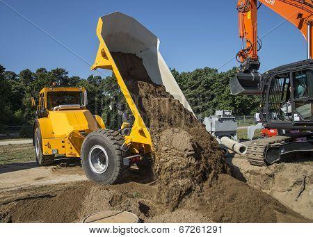 Dump Truck At Construction Site